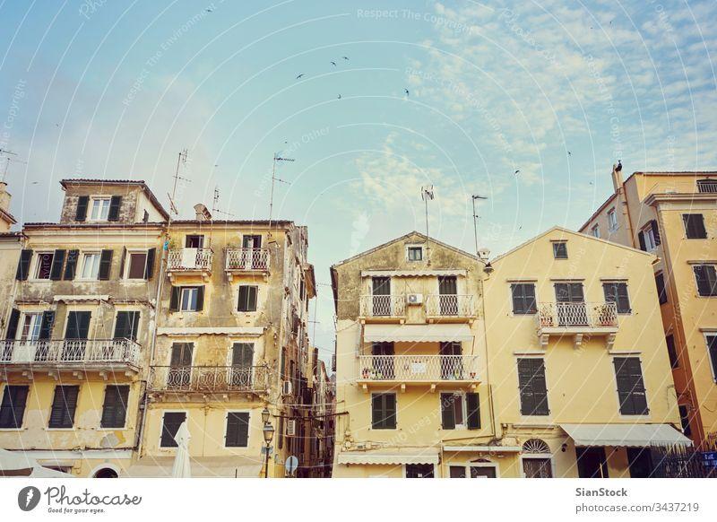 Straße auf Korfu, Griechenland alt Stadt Insel schön reisen Architektur heimwärts Gebäude historisch mediterran mittelalterlich Sommer traditionell Haus