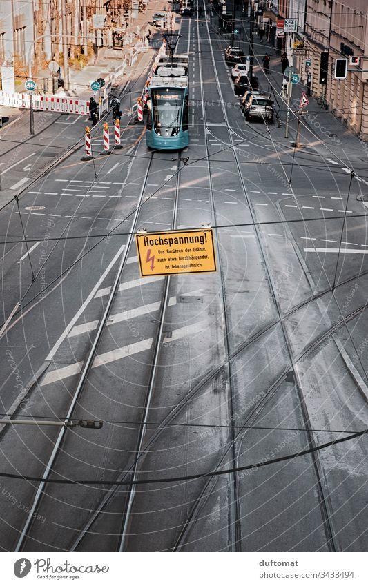 München, Straßenbahn, Gleise, urbane Romantik Stadt Architektur geometrisch Außenaufnahme abstrakt modern Großstadt Muster Strukturen & Formen Oberfläche