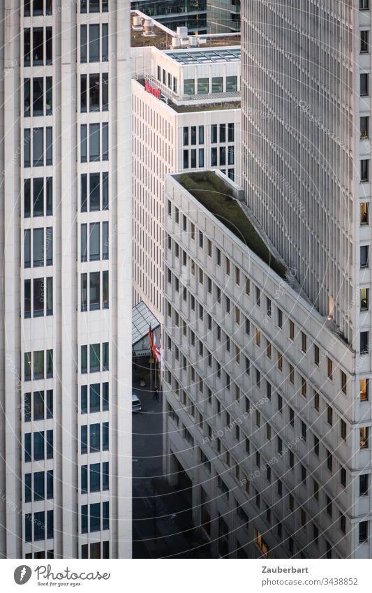 Helle Hochhausfassaden mit Straßenschlucht in Berlin-Mitte Fassade Fenster urban Großstadt Hauptstadt Architektur Stadtzentrum modern Neubau grau hellgrau weiß
