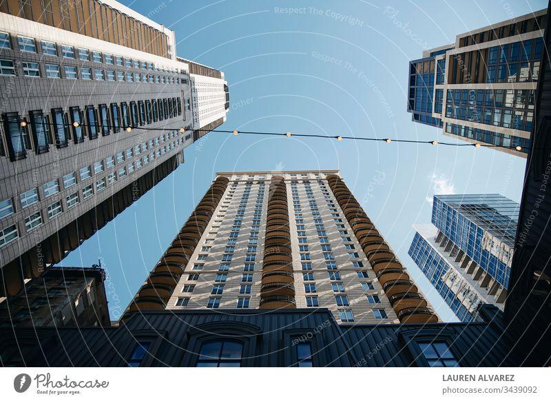 edificios, atardecer,hotel,chicago,luz,luces,cielo,vidrio,contrapicada,angulo Gebäude Sonnenuntergang Himmel blau Chicago heimwärts Liebe Architektur Winkel