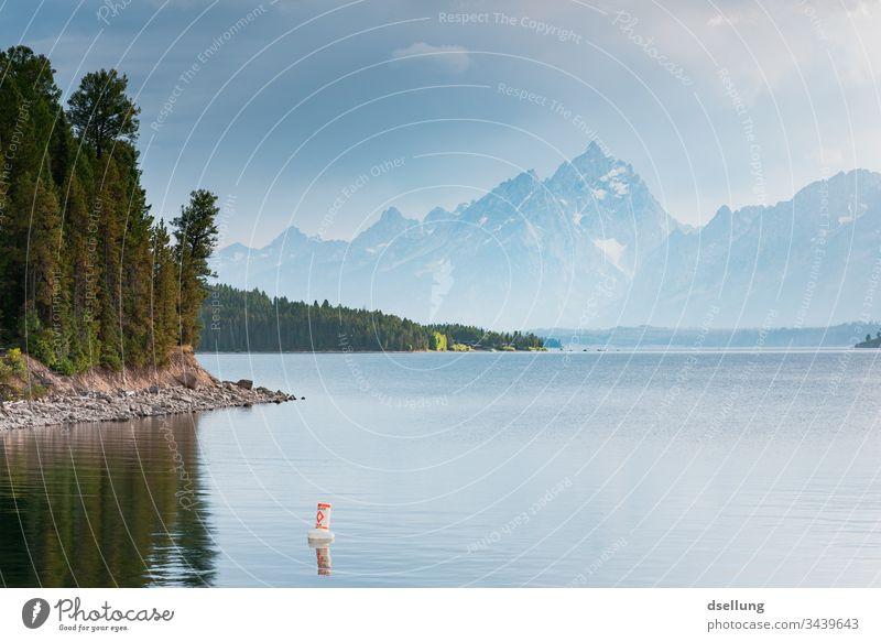See mit einem Ufer voller Bäume und leicht weißen Gipfeln im Hintergrund Sonnenlicht Tourismus wandern Außenaufnahme Ausflug Natur Landschaft sommerlich Sommer