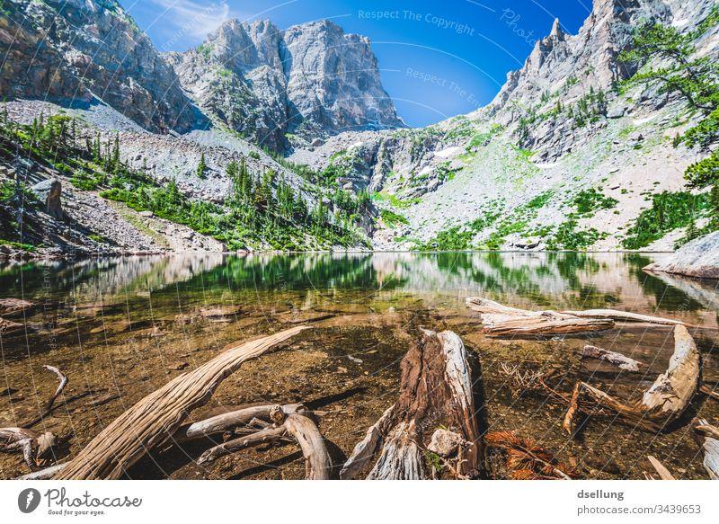 See mit gefallenen Bäumen im Wasser in einer felsigen Landschaft Wellness Felsen Expedition Zeit für sich Pause Camping Erde Amerika Nationalpark Klimawandel
