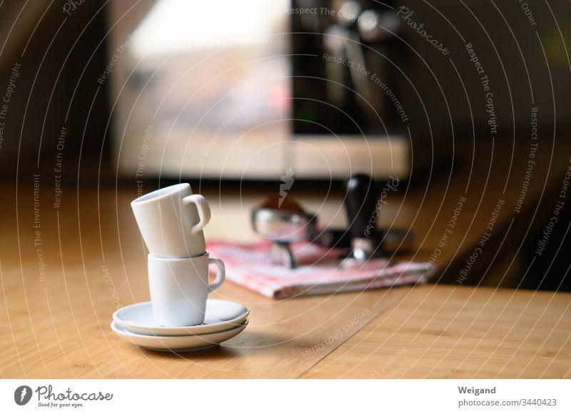 Espresso Tassen Espressomaschine Küche Küchengeräte lecker Pause Partnerschaft zwei Koffein Achtsamkeit Ruhe Gelassenheit