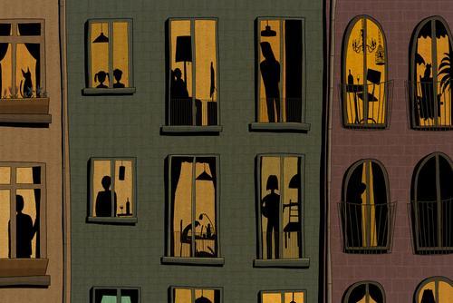 Silhouetten von Menschen stehen am Fenster Wohnung Pandemie Corona Covid-19 Epidemie Isolation Abflachung der Kurve flatten the curve Wohngebäude Abriegelung