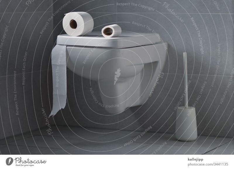 quentin quarantäno Toilette Bad Toilettenpapier Fliesen u. Kacheln Sauberkeit Innenaufnahme weiß Wand Menschenleer Waschbecken sanitär Häusliches Leben Papier