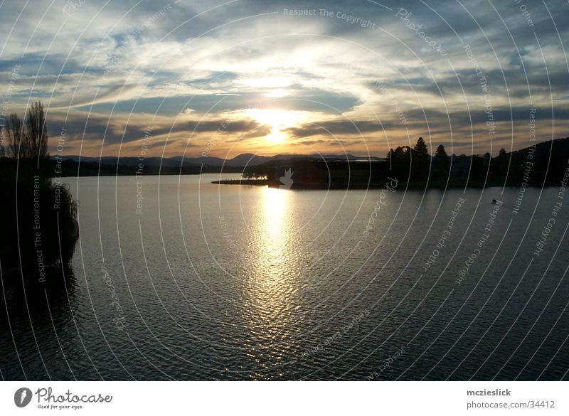 Canberra Sonnenuntergang Australien See Dämmerung Reflexion & Spiegelung Wolken Panorama (Aussicht) Horizont Wasser Abend sun evening water clouds reflection