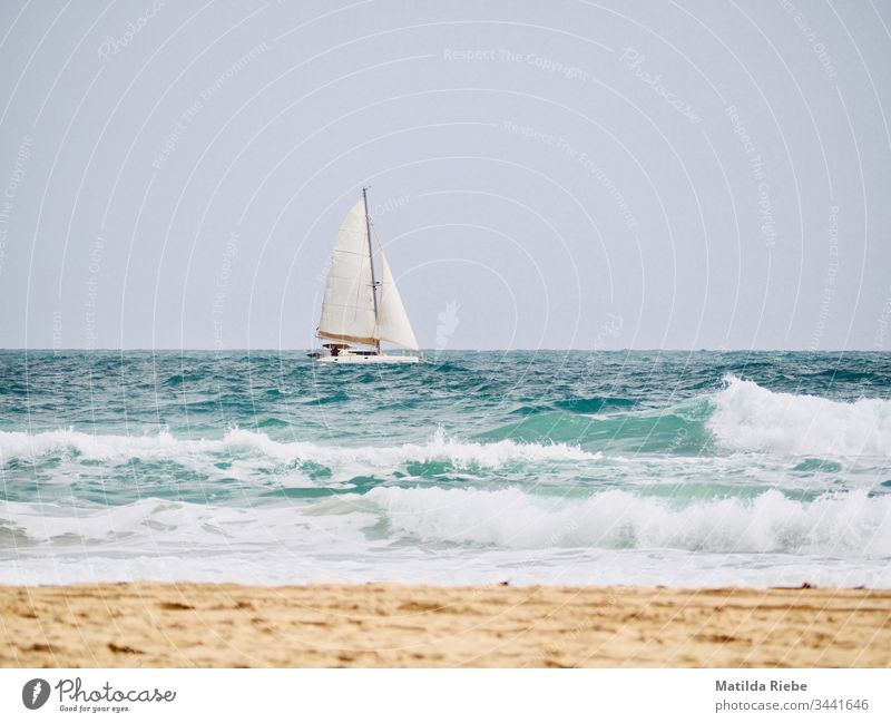 Boot auf dem Meer Strand Segelboot Segeln Wellen Ferien & Urlaub & Reisen Segelschiff Freiheit Ferne Außenaufnahme Schifffahrt Abenteuer Sommer Wasser Ausflug
