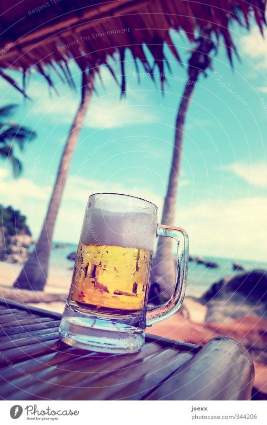 … und es wird noch heißer … Himmel blau Sommer weiß Erholung Meer Wolken Ferne Strand kalt gelb Wärme braun Freizeit & Hobby Glas Bier