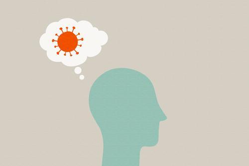 Kopf mit Virus in Gedankenblase niesen ansteckend Ansteckungsgefahr Krankheit Hygiene Infektion Gesundheitswesen Medizin Coronavirus Krankenhaus Seuche Schutz