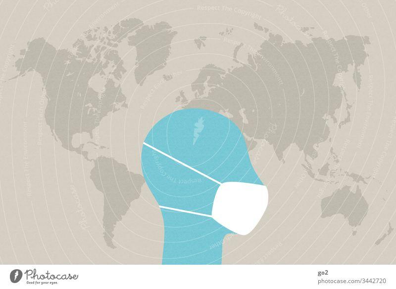 Kopf mit Mundschutz vor Weltkarte niesen ansteckend Ansteckungsgefahr Virus Krankheit Hygiene Infektion Gesundheitswesen Medizin Coronavirus Krankenhaus Seuche