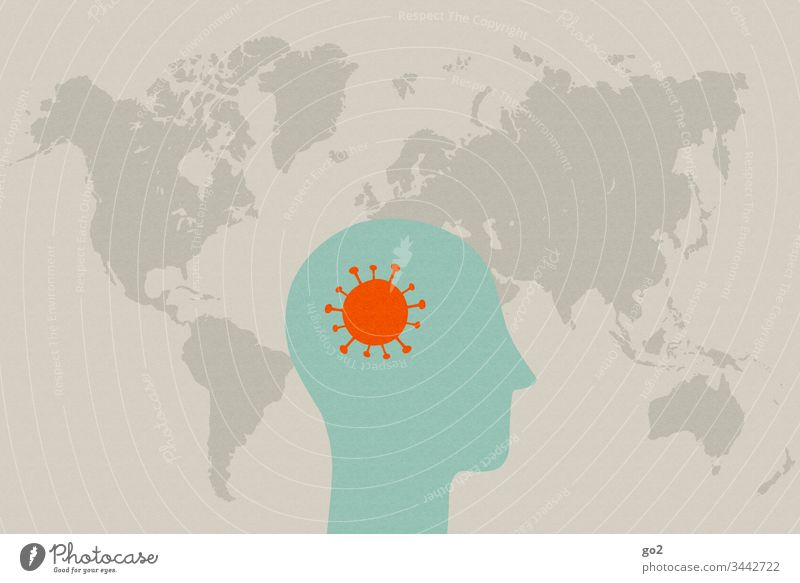 Kopf mit Virus vor Weltkarte niesen ansteckend Ansteckungsgefahr Krankheit Hygiene Infektion Gesundheitswesen Medizin Coronavirus Krankenhaus Seuche Schutz