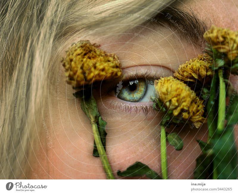 Augenzeugin der Vergangenheit sehen Sehkraft grün gelb gelb-grün gelb grün verwelkt verwelken trocken Trockenblume Trockenblumen grüne Augen grünes Auge Pupille