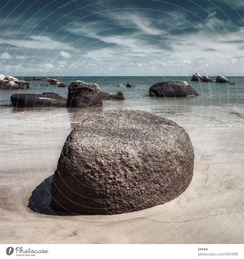 Solide Urelemente Sand Wasser Himmel Wolken Horizont Sommer Schönes Wetter Strand Meer Insel Koh Samui alt außergewöhnlich fest Flüssigkeit groß blau braun weiß
