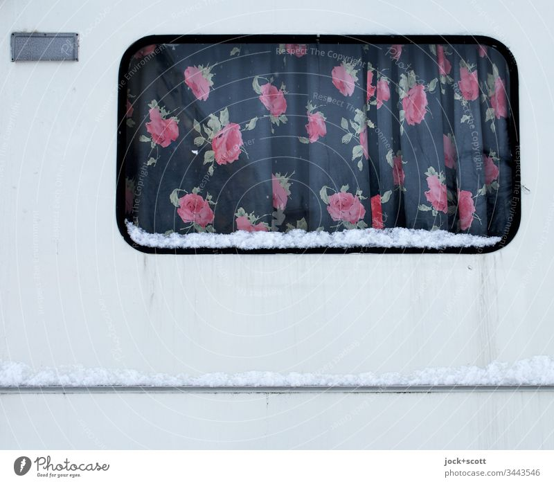 Floraler Vorhang für Caravan, gemütlich für unterwegs und daheim Ferien & Urlaub & Reisen Wohnwagen Fenster Camping trashig Lifestyle retro Winter Schnee