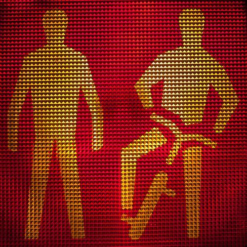 Fußgänger und Radfahrer warten bei rotem Licht Totale Starke Tiefenschärfe Lichterscheinung Silhouette Kunstlicht Kontrast Strukturen & Formen abstrakt