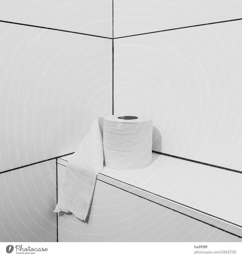Das ist Kunst und kann nicht weg - Papierrolle mit Abrissspuren in Ecke - weiß klopapier Toilettenpapier installation Stillleben Bad Sauberkeit