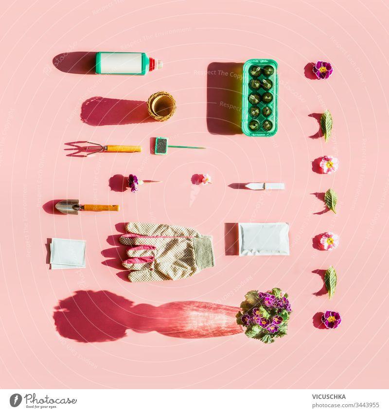 Gartengeräte im Sonnenlicht mit Pflanzensamenbeuteln, Düngerflasche, Blumentöpfen, Gartenschild und Torfpflanztabletten auf rosa Hintergrund. Ansicht von oben. Muster. Flach gelegt. Branding-Attrappe. Kreativ