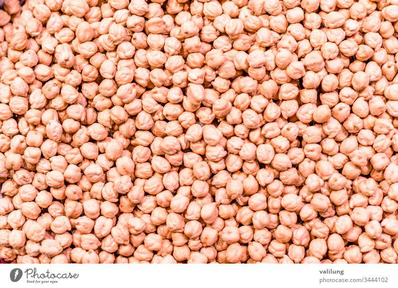 Detail von Kichererbsenbohnen cicer arietinum Ackerbau Hintergrund Nahaufnahme Diät Lebensmittel frisch Frische Korn Ernte Gesundheit Bestandteil