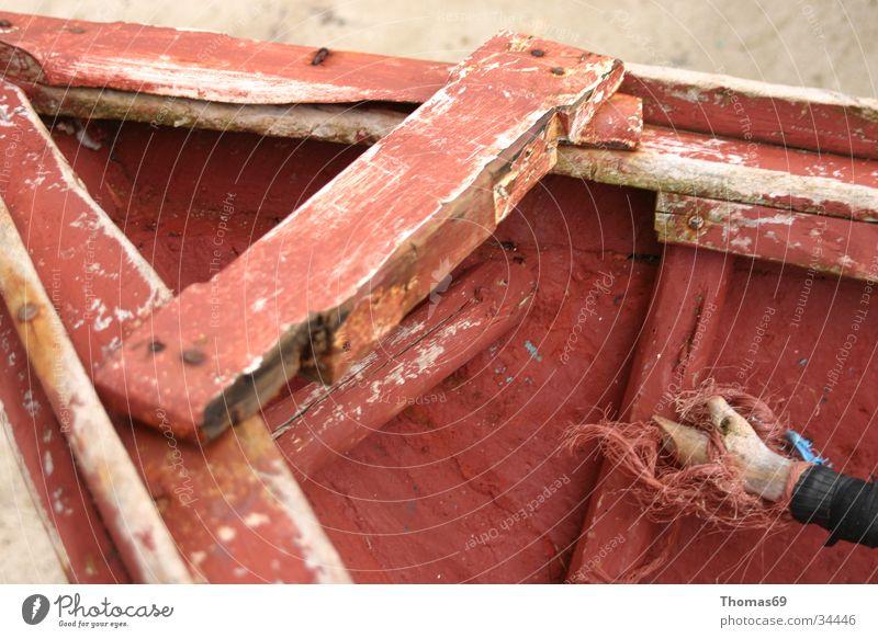Ruhe Wasserfahrzeug Holz rot Dinge Detailaufnahme alt