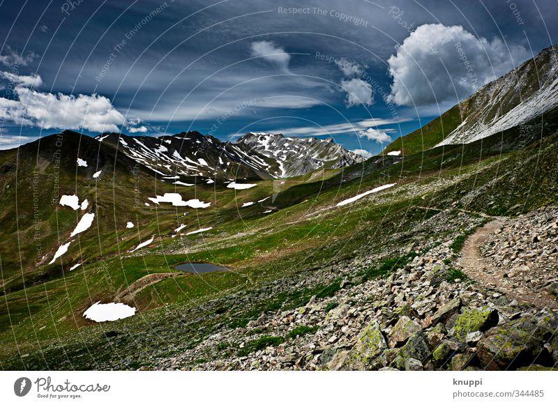 2700 m ü.M. Umwelt Natur Landschaft Urelemente Luft Himmel Wolken Sonne Sonnenlicht Sommer Herbst Klima Klimawandel Schönes Wetter Eis Frost Schnee Pflanze Gras