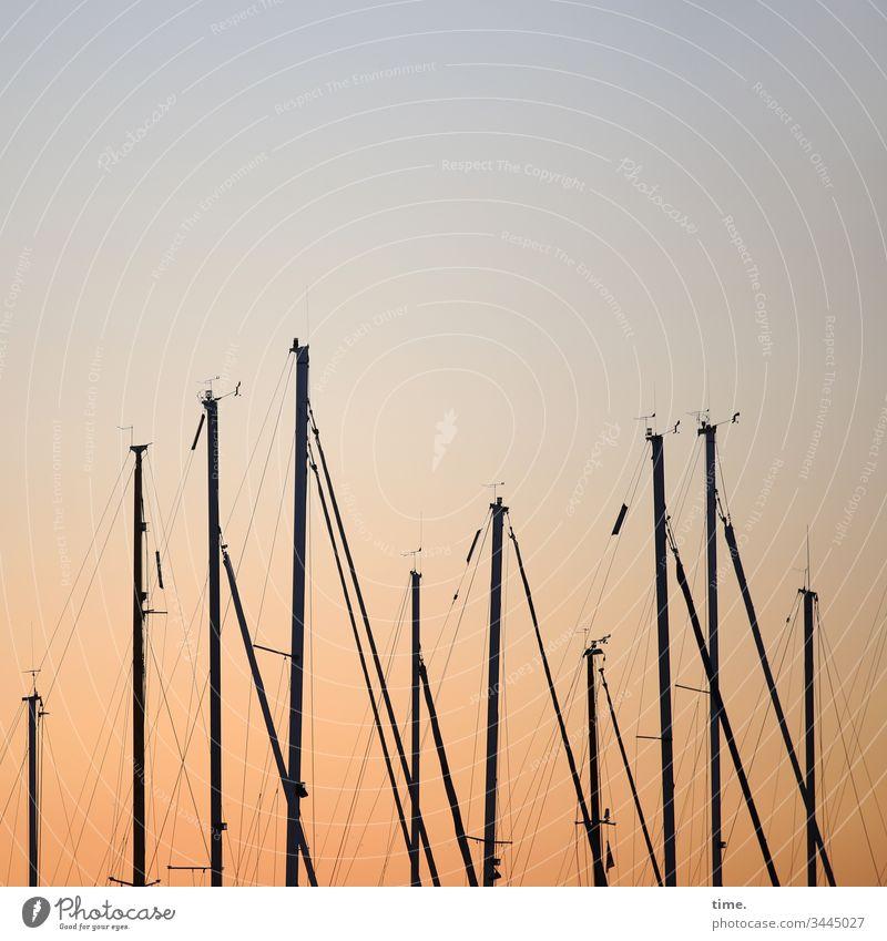 Abendunterhaltung metall linien mast hoch technik raum himmel inspiration seil schiff segelschiff maritim gegenüber beziehung tampen tau Abstand annäherung