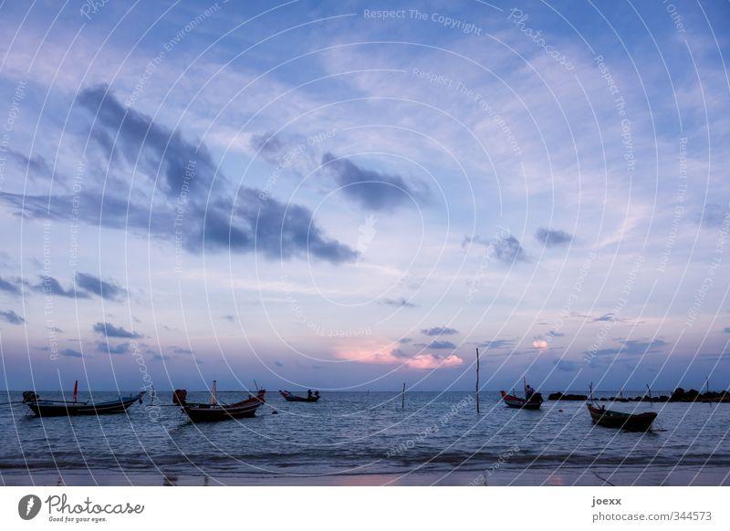 Abschied Himmel Ferien & Urlaub & Reisen blau Sommer Meer ruhig Wolken Strand schwarz Ferne rosa Wellen Idylle Insel Schönes Wetter Unendlichkeit
