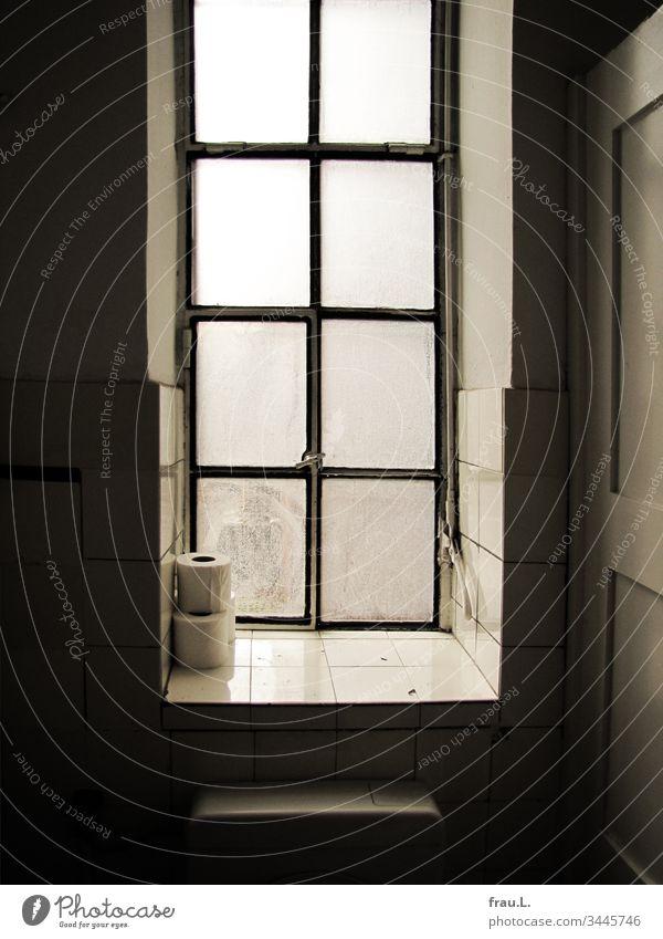 Drei Rollen Klopapier standen im Fenster der Museumstoilette, eine davon verschwand flugs in ihrer Handtasche. Toilette Toilettenpapier Fliesen u. Kacheln