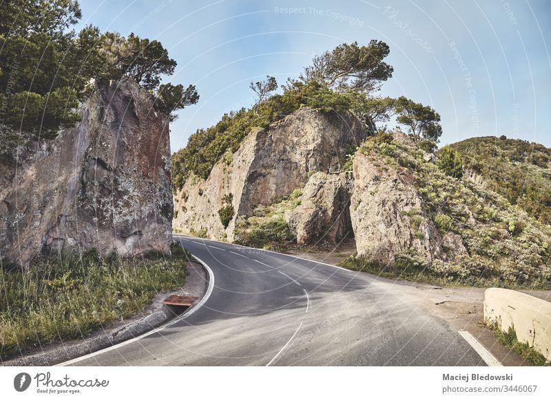 Panoramastraße im Anaga-Gebirge, Teneriffa, Spanien. Straße malerisch reisen Ausflug Abenteuer Berge u. Gebirge Landschaft Natur Kanarische Inseln Ansicht