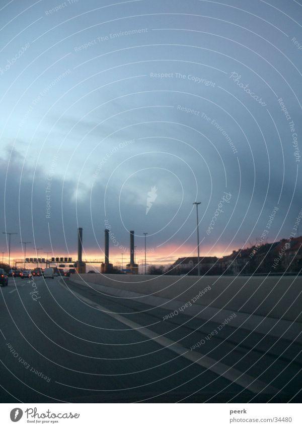 Sonnenuntergang Verkehr