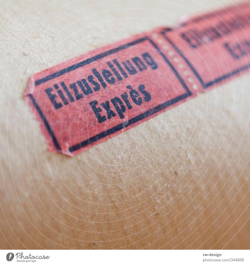 Am selben Tag rot schwarz braun Schilder & Markierungen Schriftzeichen Hinweisschild Papier Zeichen Verpackung Post Paket Warnschild Express