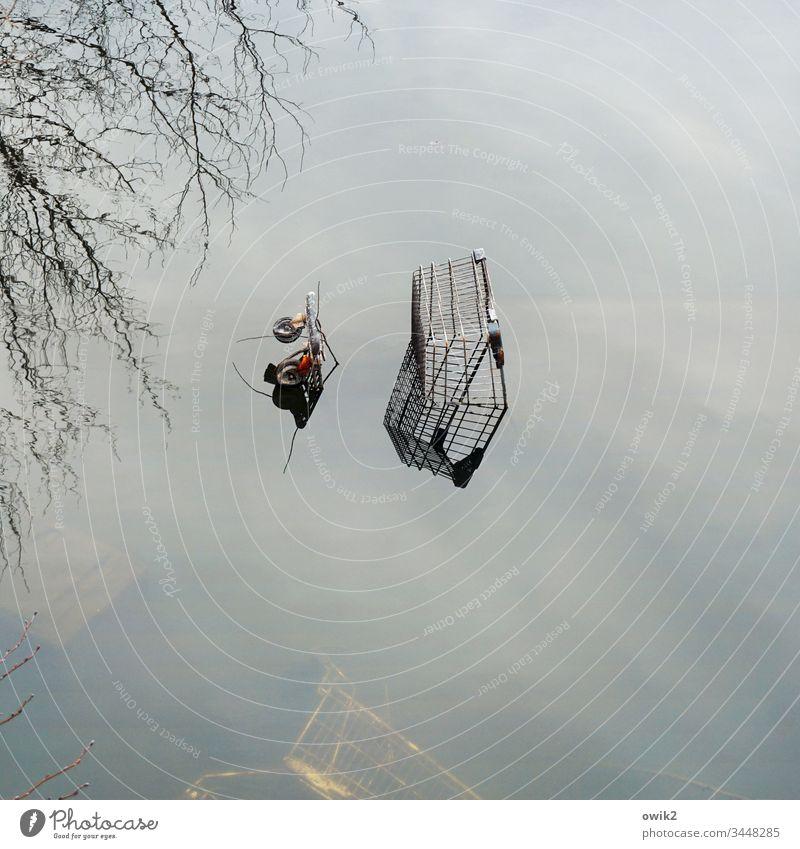 Schiffsfriedhof See Seeufer Wasser Wasseroberfläche windstill glatt Reflexion & Spiegelung Einkaufswagen entsorgt abgesoffen achtlos verlassen einsam nass unten