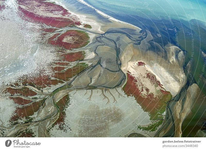 Farbenspiel, die Wüste von Oben Natur Farbfoto Tageslicht Vogelsperpektive Farben:blautöne braun weiß lila grau grün menschenleer Flüsse