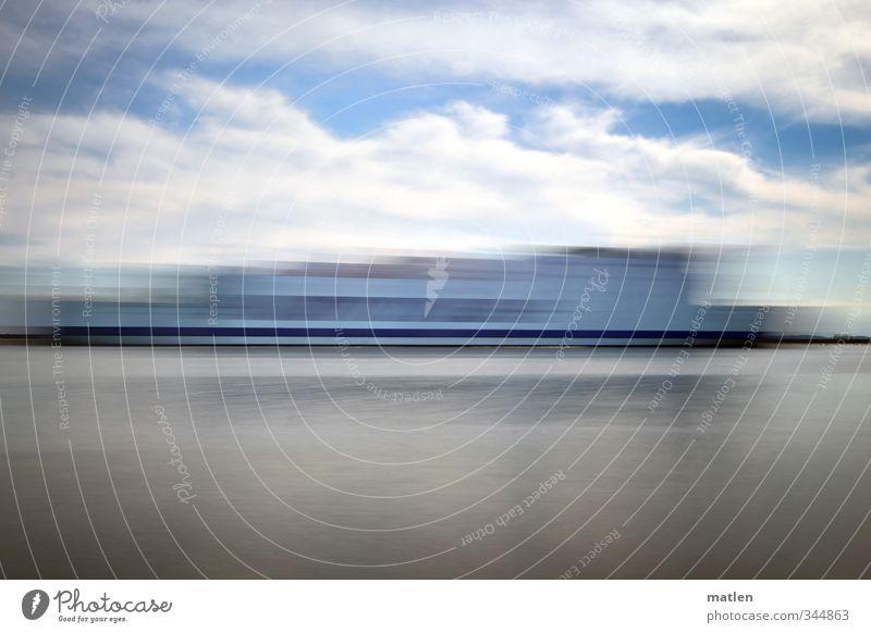 abgefahren Himmel Wolken Wetter Meer Schifffahrt Passagierschiff Dampfschiff Fähre blau grau Gedeckte Farben Außenaufnahme Menschenleer Textfreiraum oben