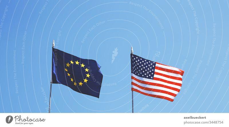 Flaggen von Europa und den Vereinigten Staaten von Amerika nebeneinander Fahne USA Vereinigte Staaten amerika uns EU Amerikaner Europäer Vereinigung