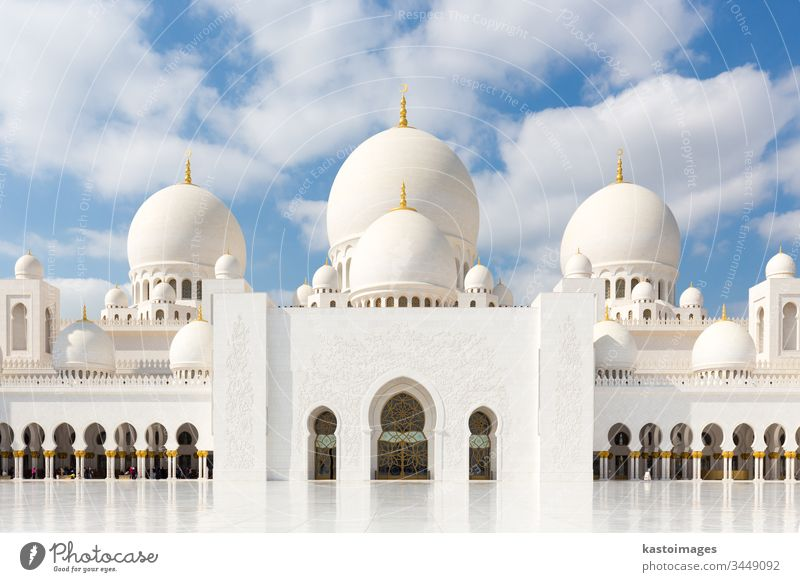 Scheich Zayed Grand Mosque in Abu Dhabi, der Hauptstadt der Vereinigten Arabischen Emirate Scheich Zayed Große Moschee uae Islam Murmel Architektur Dom Minarett