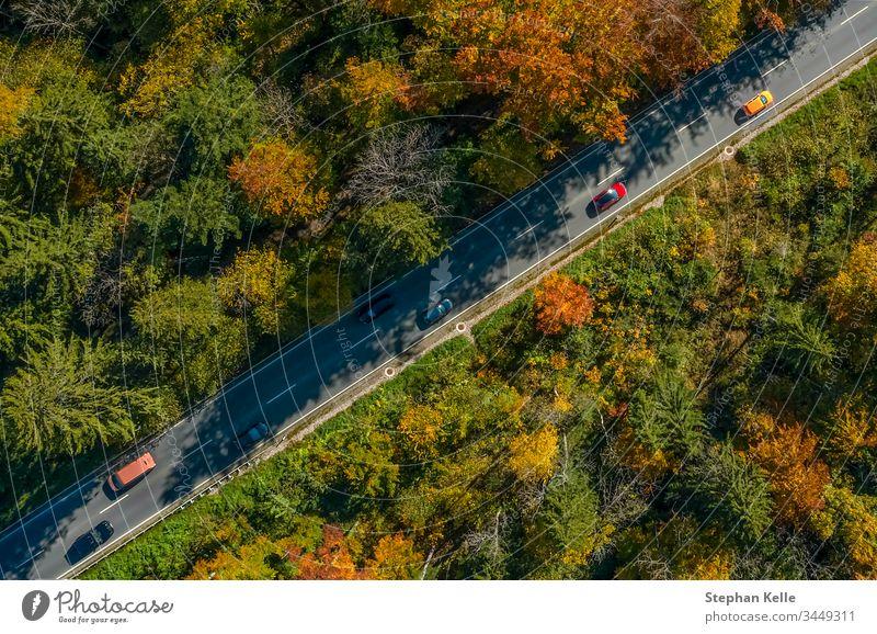 Vertikale Ansicht aus einer Drohne an einer Herbststraße mit fahrenden Autos, Vogelperspektive. PKW Verkehr Geschwindigkeit Antenne Straße fallen Sonne Natur