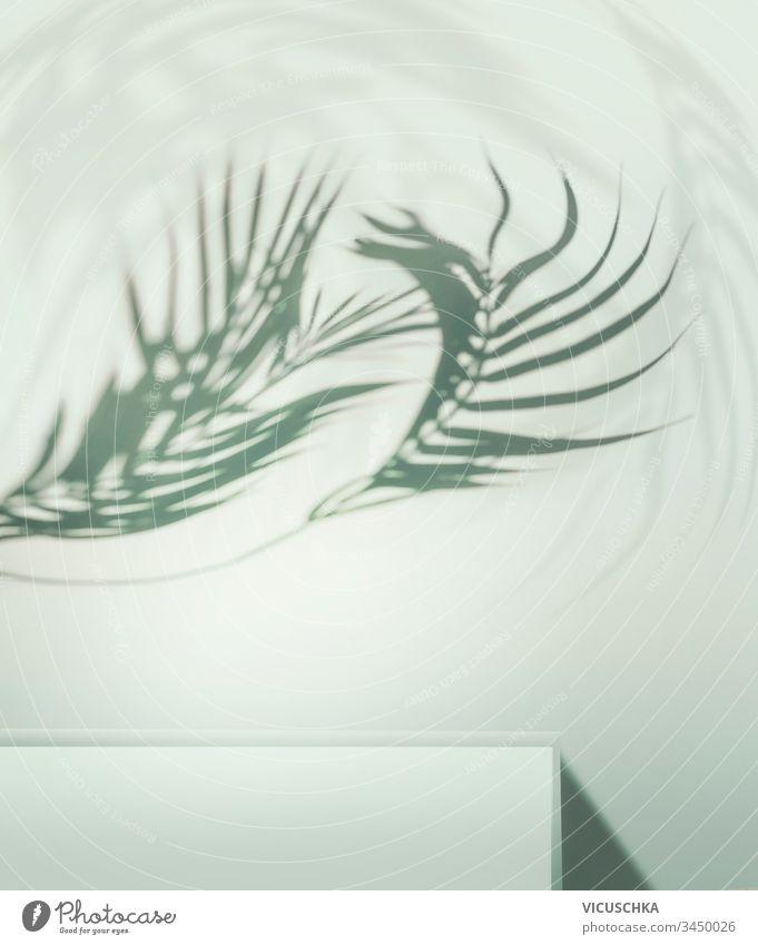 Gewölbte tropische Palmblätter schatten über Podium oder Regal vor hellblauem Hintergrund. Platz für Ihr Produkt gekrümmt Handfläche Blätter Schatten Licht