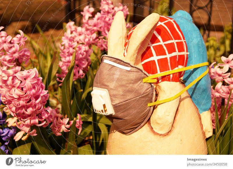 Osterhase mit schützender medizinischer Gesichts - Maske auf Garten Hintergrund. Konzept von Ostern und Quarantäne während des Coronavirus Covid-19 . Ostern im Konzept der Corona Tage