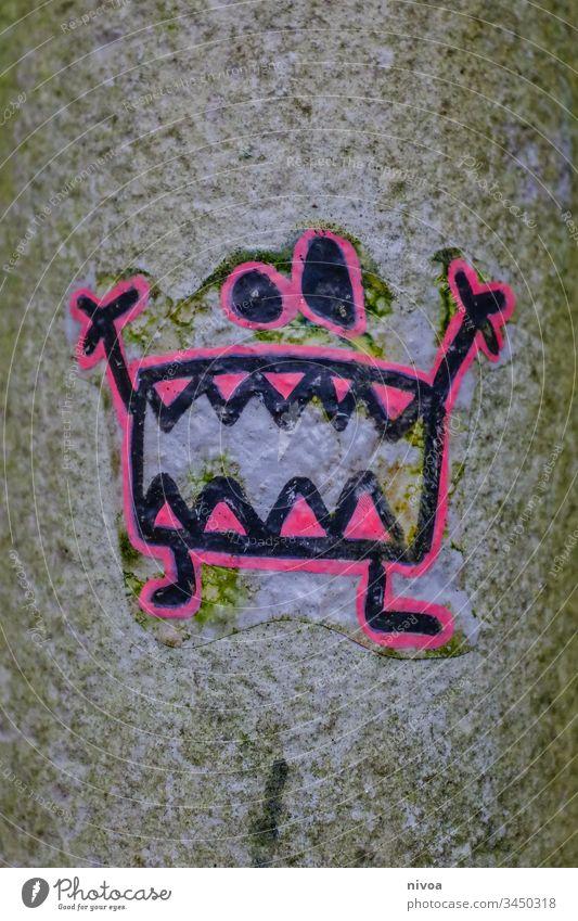 Monster Sticker Zeichnung Aufkleber Laternenpfahl Zähne Farbfoto gruselig Auge Tag Mund Außenaufnahme Nase schreien 1 böse niedlich Mensch Gesicht Angst Porträt