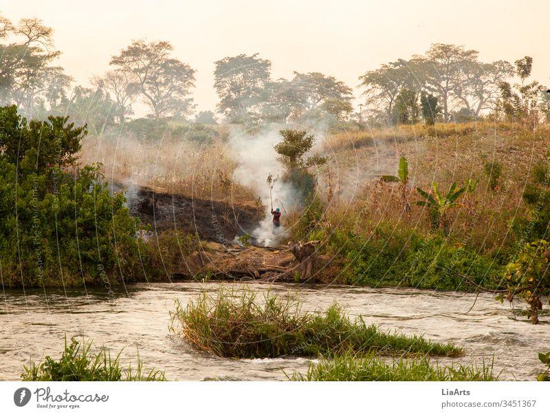 Buschfeuer in Uganda am Nil, Afrika nile uganda river fire burning africa africans afrika fluss sunset sonnenuntergang flussufer afrikaner landschaft natur