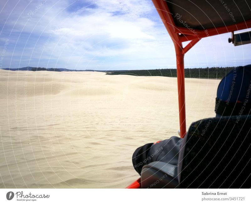 Sandbuggy Tour in den Dünen von Oregon Sanddünen Himmel oragon Küste Abenteuer aufregend Geschwindigkeit Fahrer reisen Urlaub USA amerika Natur Buggy Sandwagen