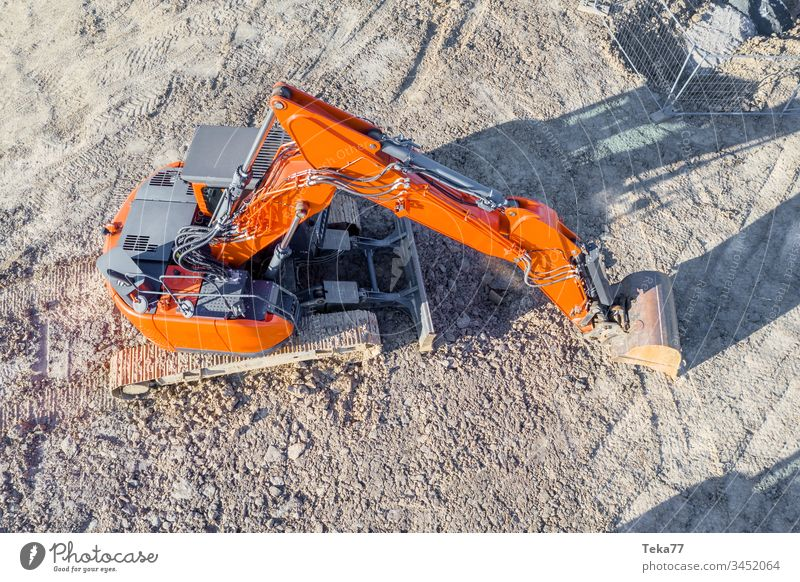 Oranger Bagger von Oben orange Baustelle Arbeit & Erwerbstätigkeit white Arbeitsstelle Bauarbeiter