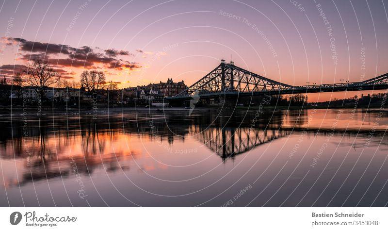 Loschwitz, Bridge, Blaues Wunder, Dresden, Sachsen, Deutschland Illumination Gefühle Ferien & Urlaub & Reisen Europa Abend Ausflug Brühlsche Terrasse