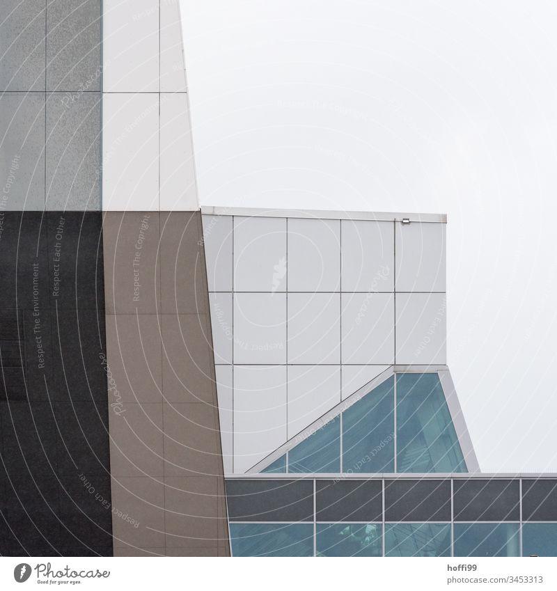 abstrakte Fassade - diskrete Divergenz Architektur Konstruktion Muster Moderne Architektur modern Gebäude Bauwerk Farbfoto Glasfassade Design