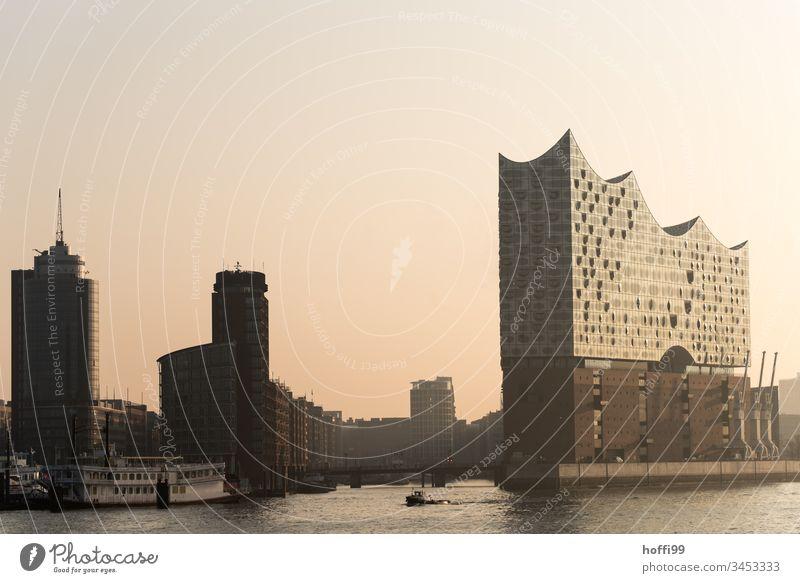 Speicherstadt Hamburg - die Sonne geht auf bei leichtem Frühnebel Hafen Wasserfahrzeug Schifffahrt Kran Anlegestelle Sonnenaufgang Nebel Nebelschleier