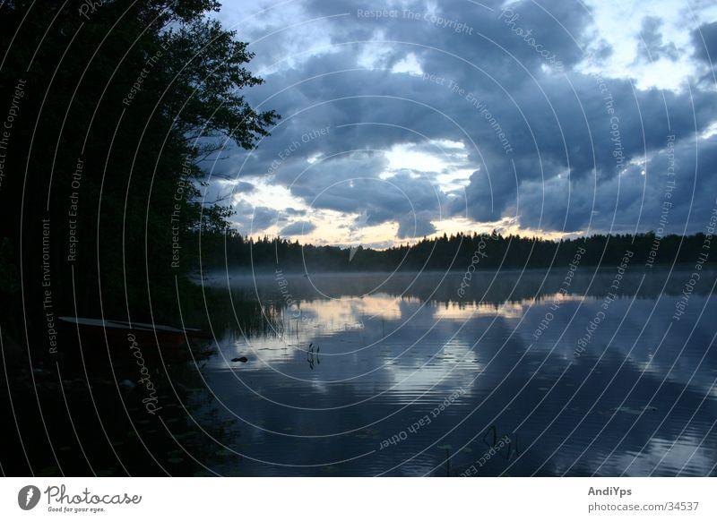 Holmsjo_Abend Natur Wasser Wolken See Landschaft Wasserfahrzeug Schweden