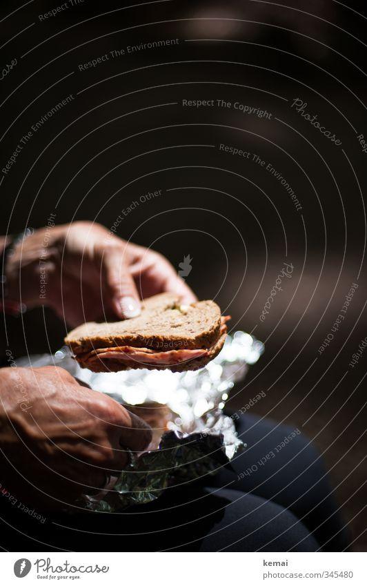 Mama packt aus Wurstwaren Brot Ernährung Picknick Wurstbrot Metallfolie Verpackungsmaterial Ausflug Mensch Frau Erwachsene Hand Finger Fingernagel 1 Essen