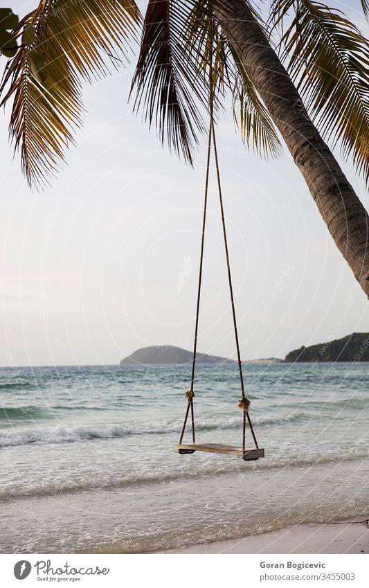 Schaukel an einem tropischen Strand Asien Bucht schön Windstille Küste Küstenlinie Insel Landschaft Natur im Freien Handfläche Paradies friedlich phu quok sao