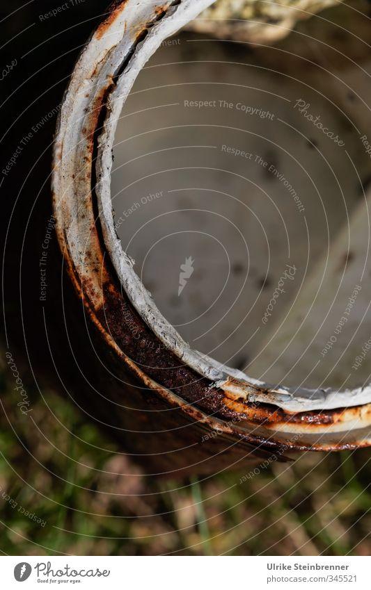 c / AST 5 Beelitz Natur alt weiß Gras Farbstoff Metall dreckig stehen Kreis rund Müll ausdruckslos Rost Am Rand direkt Dose