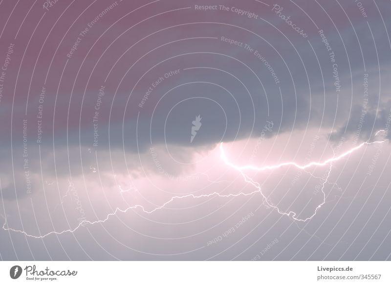 Donner und... Himmel Natur blau Sommer Landschaft Umwelt Luft Nebel leuchten Urelemente violett Unwetter Blitze Gewitter Aggression Nachthimmel